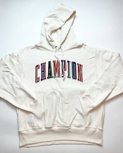 Men-s-100-Authentic-Champion-Hoodie-Size-Large-Color-White