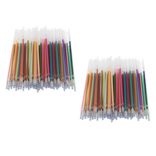 200Pc 1mm Gel Ink Pen Refills for Glitter Paintng Drawing Writing Stationery