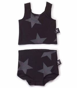 NUNUNU-Tankini-Bikini-Badeanzug-schwarz-Sterne-urban-104-110-116-122-128-134
