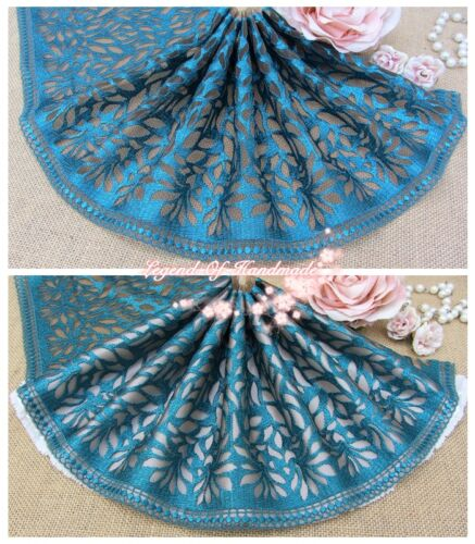 """8/""""*1Y Embroidered Floral Tulle Lace Trim~Deep Green+Light Brown~Enigmatic Smile~"""