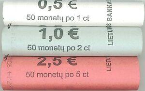 Litauen Rollen 1 Cent, 2 Cent und 5 Cent 2015