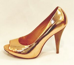 BCBG-Maxazria-Peep-Toe-Pumps-Rose-Gold-Metallic-Leather-Heels-Shoes-size-7-5