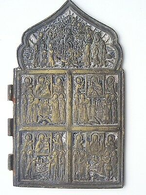 """old XIXc RUSSIAN Bronze icon """"Mother of God 4 parts"""""""