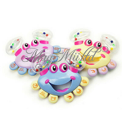 Baby Kid Plastic Hand Shaking Cartoon Crab Design Rattle Handbell Jingle Toy