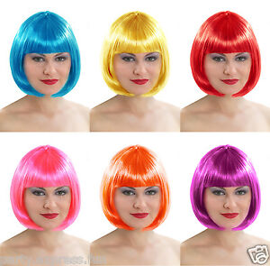 SHORT-BOB-LADIES-FANCY-DRESS-PARTY-WIG-16-COLOURS-AVAILABLE