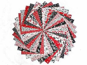Details About 34 10 Red Black And White Quilting Fabric Layer Cake Squares Buy It Now