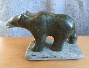 Vintage-Inuit-Carved-Soapstone-Walking-Bear