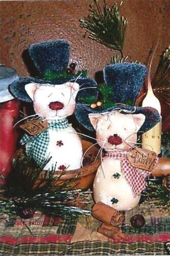Primitive Pattis Ratties Snowman Frosty Kitty Cat Doll Ornies Paper Pattern 443