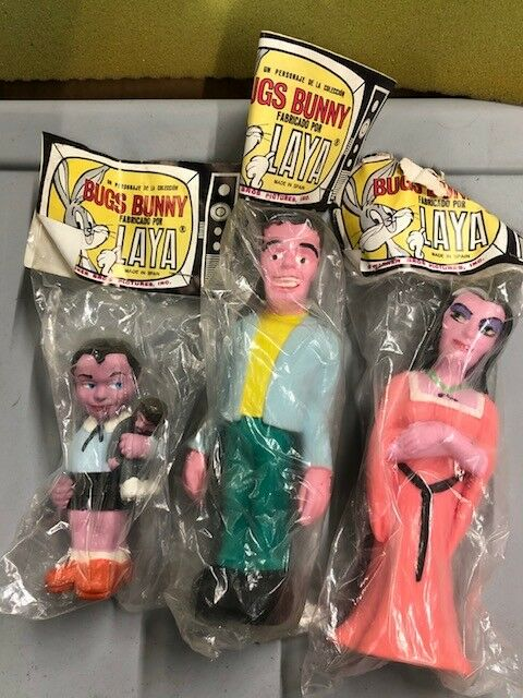 Vintage Set of 3 Laya  The Munsters  Rubber Squeeze Dolls Herman Lily & Eddie