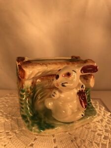 Vtg-50-039-s-Japan-Hand-Painted-Pottery-Art-Easter-Bunny-Rabbit-Planter-Vase-CUTE
