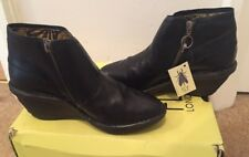 PR OF NEW FLY LONDON SADE BLACK LEATHER ANKLE  BOOTS WEDGE SIZE 37 SIDE ZIP