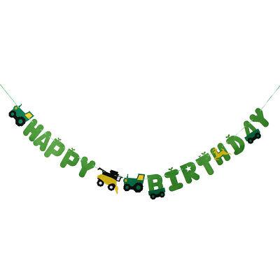 2x Happy Birthday Tractor Car Felt Bunting Banner Celebration Party Decorations