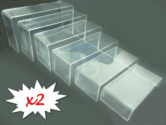 6 LAYER CLEAR ACRYLIC DISPLAY RISER SHOWCASE STAND x 2