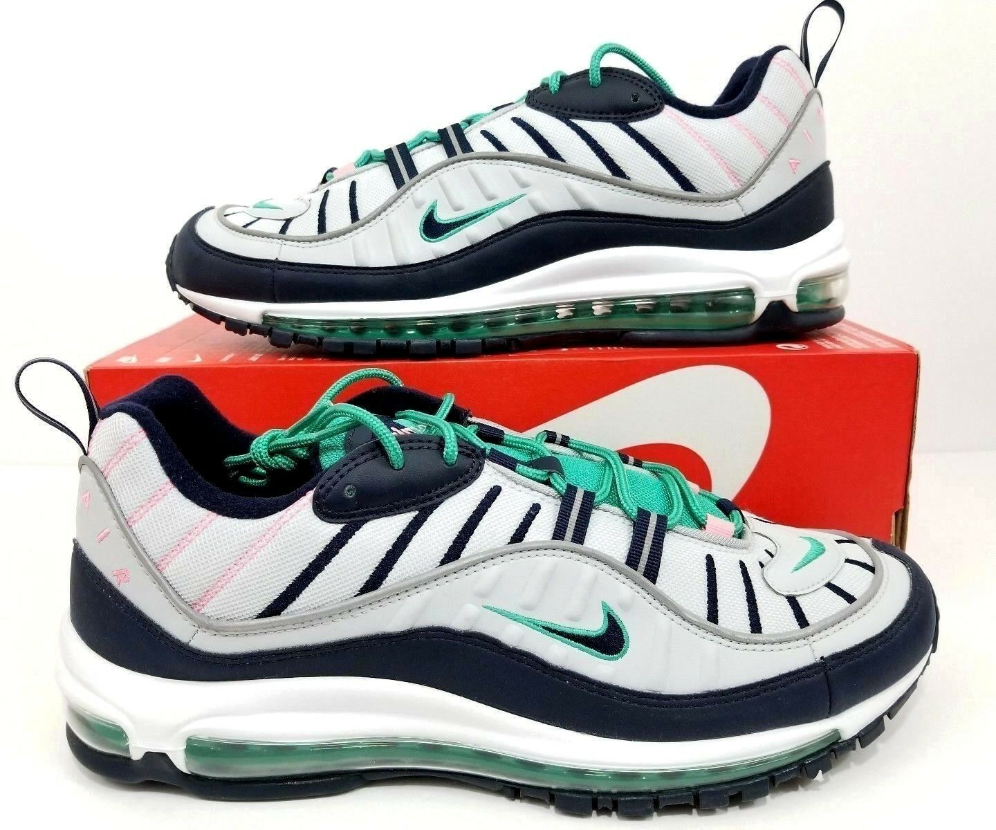 Nike Air Max 98 South Beach Tidal Wave Pure Platinum Obsidian 640744-005 Sz 12.5