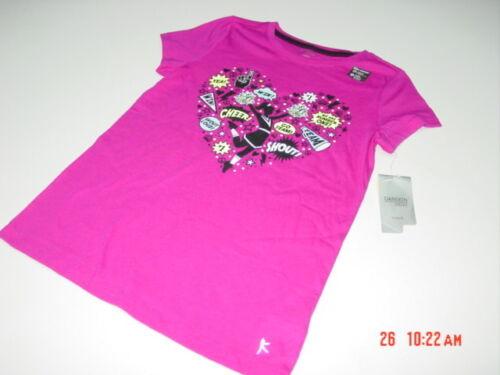 NWT Girls Danskin Pink Graphics Tee Shirt Cheer Shout Number One Team Go