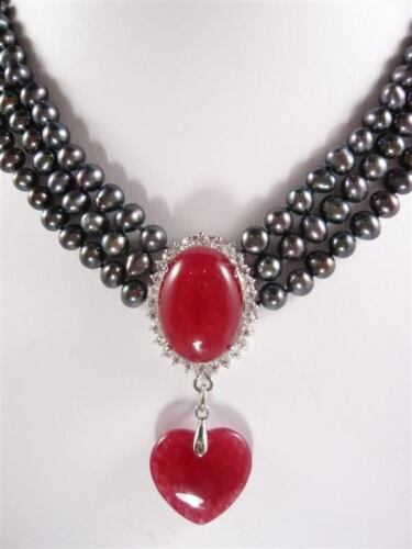 3 rangées 7-8 mm noir Collier de Perles Rouge jade Pendentif