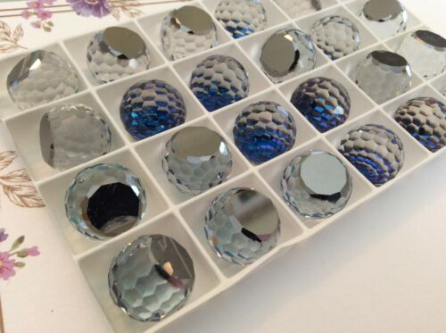 Swarovski #4861 Fire ball Bermuda Blue multi faceted Flat bottom Pack 14mm 16mm