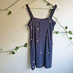 Vintage-90s-Handmade-Charcoal-Mini-Cami-Slip-Dress-S-Sculptural-Flowers-Buttons
