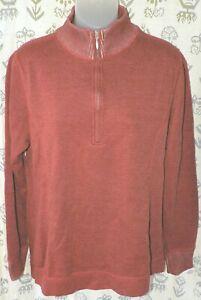 EDDIE BAUER Women's Large Brick Red Cotton LS Half Zip Pullover Mock-T Shirt EUC