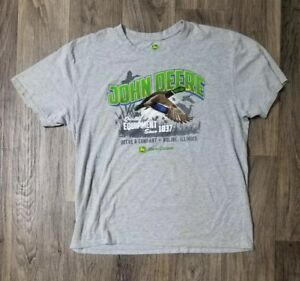 Mens-John-Deere-amp-Company-Logo-Truck-Tools-T-Shirt-Gray-Green-White-Black-XL