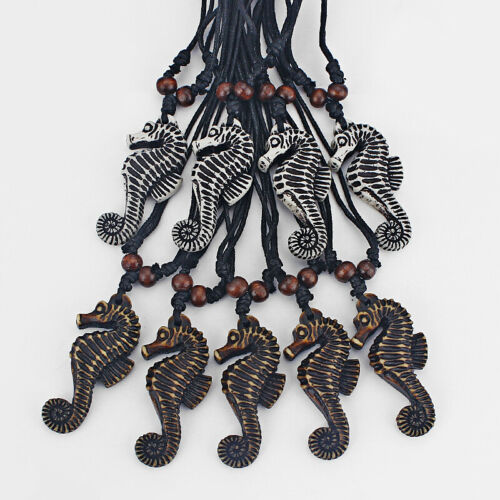 Wholesale 12pcs synthétique Yak Bone Résine Sea Horse Charms Pendentif Cire Cordon Collier