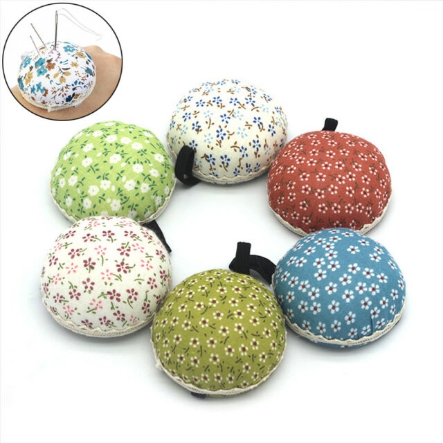 Tool Button Storage Wrist Strap Needle Holder Sewing Pin Cushion Floral