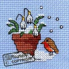 Mouseloft Mini Cross Stitch Kit  - Christmas Range - Robin & Snowdrop