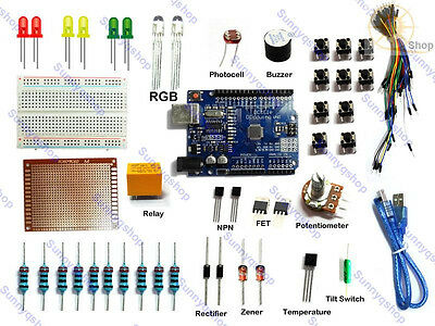 UNO R3 Project Starter Kit Universal Breadboard jumper cable relay For Arduino