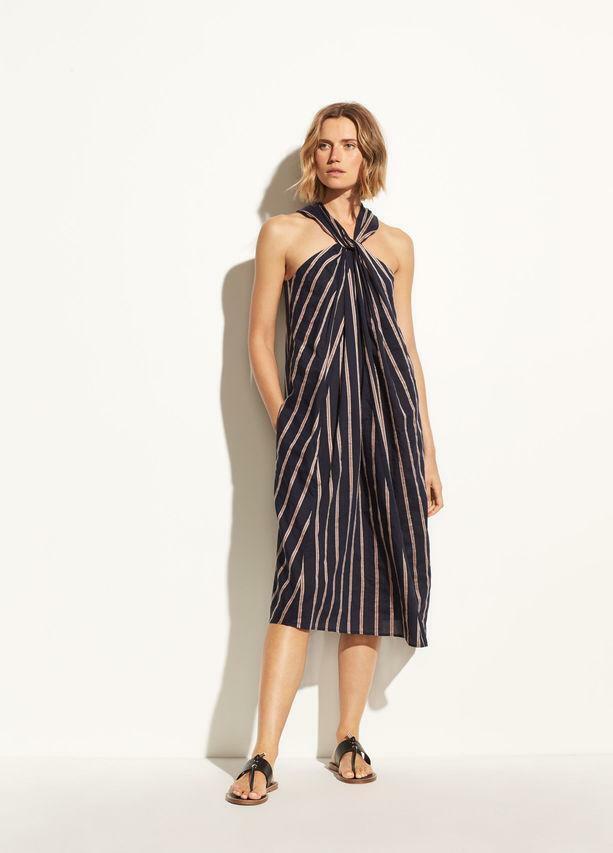 E036 NWT VINCE TEXTURE STRIPE TWIST FRONT HALTER damen DRESS Größe XS, L