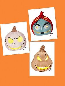 Nightmare Before Christmas Jack Sally Oogie Light Up Pumpkins Set