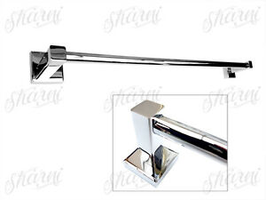 Wall-mount-Towel-Rail-Single-Metal-Chrome-90cm-Bathroom-Rack-Hanger-Hook-98130
