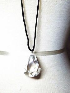 Clear-Large-Plastic-Pendant-on-Black-Cord-Vintage-Necklace