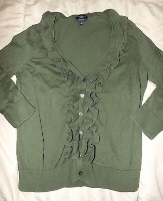 Able Women's Talbots Petite Green Ruffled Cardigan Sweater Size Small Reliable Performance Panties