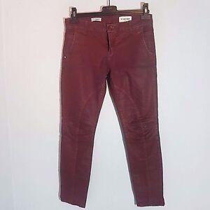 Rich-amp-Royal-Damen-Stretch-Jeans-034-SKINNY-BIKER-034-Gr-28-dunkelrot-Used-Look
