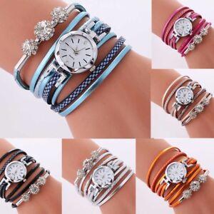 Fashion-Women-039-s-Watch-Bracelet-Crystal-Leather-Dress-Analog-Quartz-Wrist-Watches