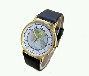 Fashion world map watch women men dress quartz wristwatches ebay la imagen se est cargando moda reloj de mapa del mundo para mujeres gumiabroncs Gallery