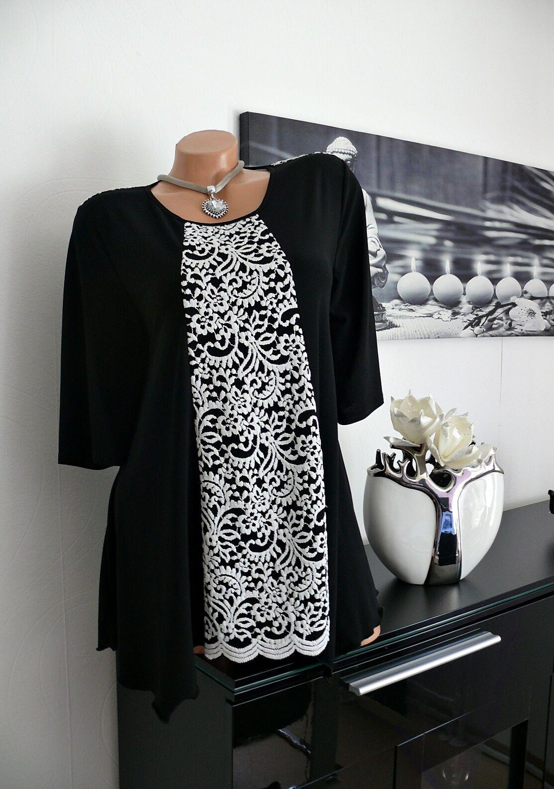 ♥ NEU Fest    Tunika Spitze schwarz elegant  3 4 arm 42 44 46 48 50 gr ♥ | Mode-Muster  | Sale Online Shop  892eab
