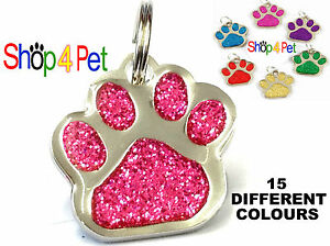Dog-Cat-Tag-Quality-27mm-Reflective-Glitter-PET-ID-Tags-ENGRAVED-Options