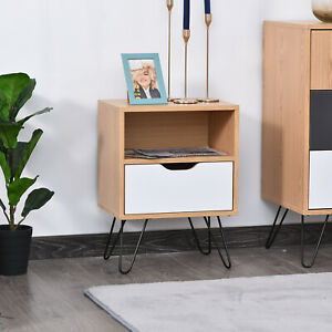 Modern Bedside Table Cabinet w/ Compartment Drawer Flat Top Metal Hairpin Legs