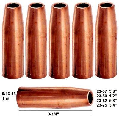 #4 /& Lincoln Magnum 200-400 5 Mig Welding Nozzles 23-75 Fit Tweco#2