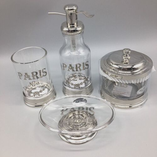 BELLA LUXFrench HOTEL PARIS BATH Accessory SETPump Jar Soap TblerGLASS CHROME