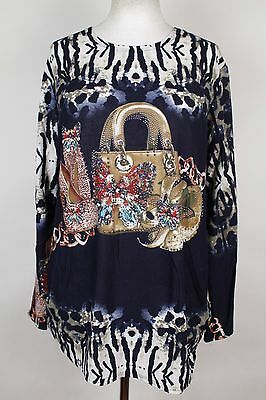 NEW WOMEN  TUNIC size  18/20  TOP LONG SLEEVE SEQUINS BLOUSE  LADIES   4318