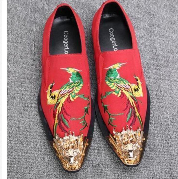 shopping online di moda Plus Plus Plus Dimensione Uomo Embroidery Floral Pointed Metal Toe Dress Loafers scarpe nero Red  i nuovi stili più caldi