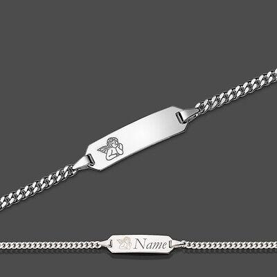 14 cm Kinder Schutz Engel Herz ID Armband Silber 925 mit Gravur Name Datum 16