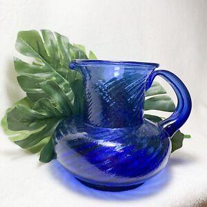 Vintage-Handblown-Cobalt-Blue-Swirl-Pitcher-with-Applied-Handle-6-034-Tall