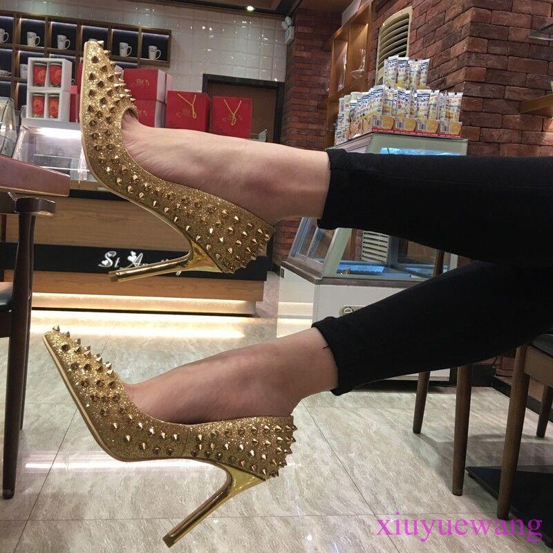 Clubwear Pumps Damen Nieten High Heels Sexy Nachtclub Schuhe Slipper Stilettos