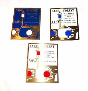 3-Lake-Forest-Ford-Model-A-T-Classic-Car-Show-Plaques-Chicago-Auto-Tickets-Ofr