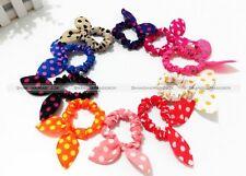 10pcs Girls Rabbit Bunny Ear Ribbon Wire Headband Scarf Hair Tie Cute Head Bow