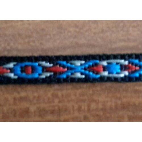 7059 Metri 10 Nastro bordatura passamaneria tessuto nero con decoro azzurro ros