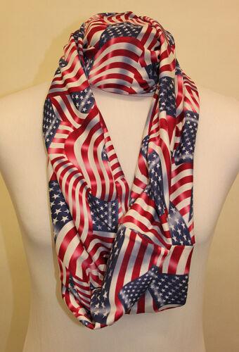 Infinity Scarf Jersey Or Chiffon USA Flag Design Unisex Fashion Loop Scarves